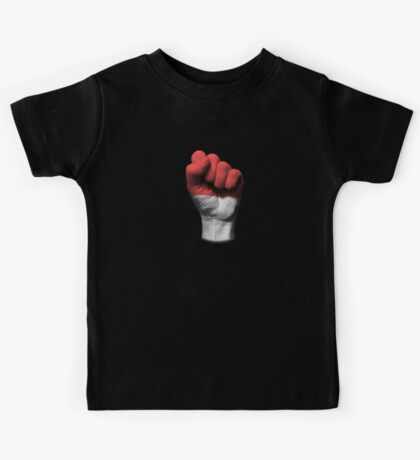 Flag of Indonesia on a Raised Clenched Fist  Kids Tee