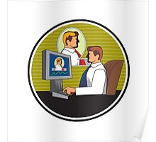 Businessman Video Conference Retro Poster