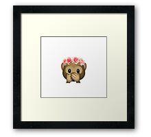 Monkey Flower Crown Emoji Framed Print