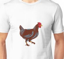Chicken Hen Walking Side Woodcut Unisex T-Shirt