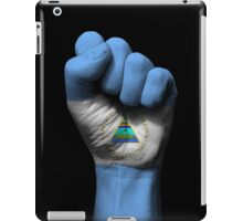 Flag of Nicaragua on a Raised Clenched Fist  iPad Case/Skin