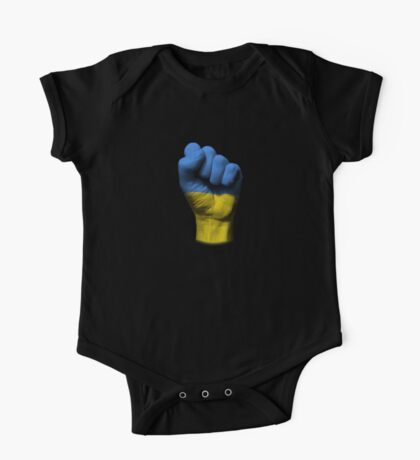 Flag of Ukraine on a Raised Clenched Fist  One Piece - Short Sleeve