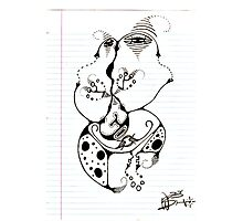 Faces In Your Notebook Original Pencil Art Photographic Print