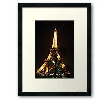 Eiffel Tower lights by night Framed Print