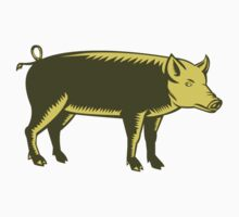 Tamworth Pig Side Woodcut by patrimonio
