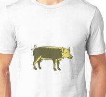 Tamworth Pig Side Woodcut Unisex T-Shirt