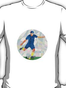 Rugby Player Kicking Ball Circle Low Polygon T-Shirt