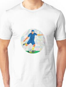Rugby Player Kicking Ball Circle Low Polygon Unisex T-Shirt