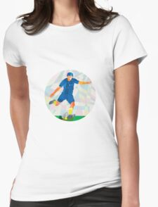 Rugby Player Kicking Ball Circle Low Polygon Womens Fitted T-Shirt