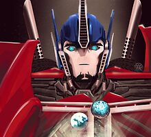 Optimus Prime w/ Earth and Cybertron by robots-n-stuff