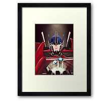 Optimus Prime w/ Earth and Cybertron Framed Print