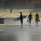 Surfie's Winter Silhouette - Newcastle Beach NSW by Bev Woodman