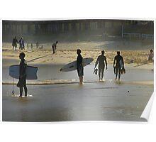 Surfie's Winter Silhouette - Newcastle Beach NSW Poster