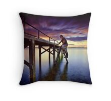 Jetty Under Repair Throw Pillow