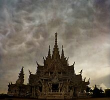 temple during rainstorm by paulgrand
