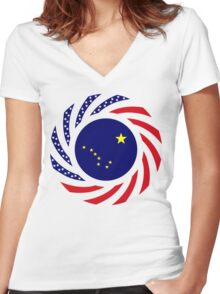 Alaskan Murican Patriot Flag Series Women's Fitted V-Neck T-Shirt