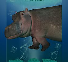 Father's Day Card with Hippo plodding along the water by Moonlake