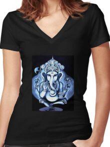 Ganesha  Women's Fitted V-Neck T-Shirt
