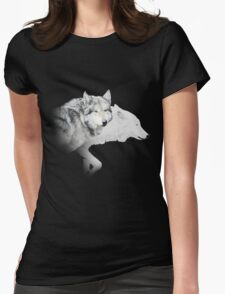gray wolf and white wolf Womens Fitted T-Shirt