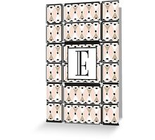 1920s Pink Champagne Gatsby Monogram letter E Greeting Card