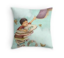 Jack and the Book-Stalk Throw Pillow