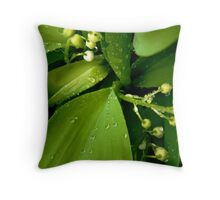 Rain Soaked Lily of the Valley Throw Pillow