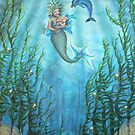 Mermaid and baby with dolphin by Tina-Renae