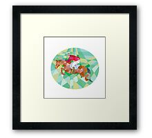 Equestrian Show Jumping Oval Low Polygon Framed Print