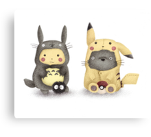 Totoro and Pikachu in Cosplay Fan Art Canvas Print