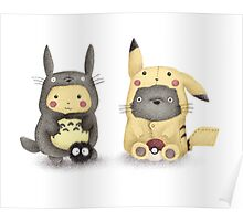 Totoro and Pikachu in Cosplay Fan Art Poster
