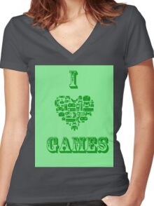I Love Games Women's Fitted V-Neck T-Shirt