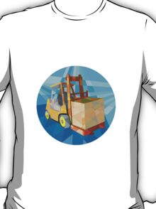 Forklift Truck Materials Box Circle Low Polygon T-Shirt