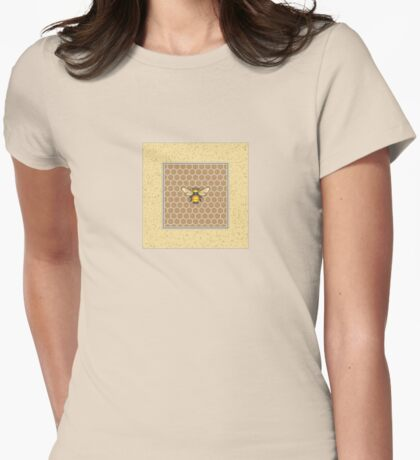 Bumblebee on Honeycomb Pattern Womens Fitted T-Shirt