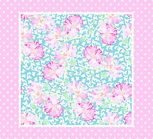 Pink Roses, White Butterflies on Sky Blue and Pink Polka Dots by helikettle