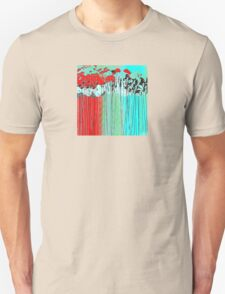 Long-Stem Flowers in Aqua and Red T-Shirt