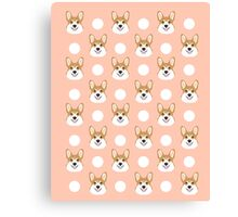 Corgi polka dots peach blush pastel pink coral welsh corgi iphone case for dog lover gifts for dogs Canvas Print