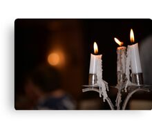candles lighting and dripping Canvas Print