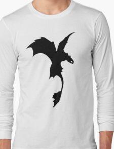 Toothless Silhouette - Plain Long Sleeve T-Shirt