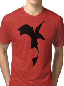 Toothless Silhouette - Plain Tri-blend T-Shirt