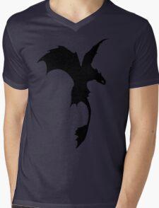 Toothless Silhouette - Plain Mens V-Neck T-Shirt