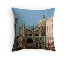 Bustling Piazza San Marco Throw Pillow