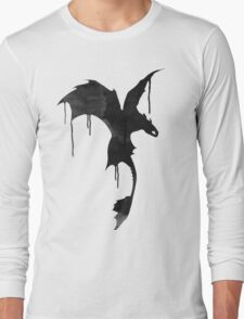 Toothless Silhouette - Ink Drips Long Sleeve T-Shirt