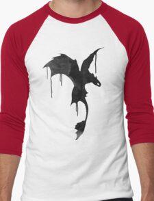 Toothless Silhouette - Ink Drips Men's Baseball ¾ T-Shirt