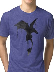 Toothless Silhouette - Ink Drips Tri-blend T-Shirt