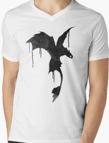 Toothless Silhouette - Ink Drips Mens V-Neck T-Shirt