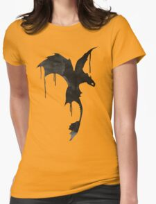 Toothless Silhouette - Ink Drips Womens Fitted T-Shirt
