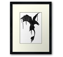 Toothless Silhouette - Ink Drips Framed Print