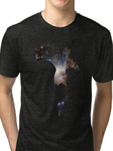 Toothless Silhouette - Galaxy Print Tri-blend T-Shirt
