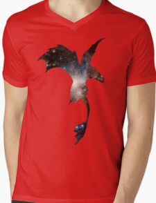 Toothless Silhouette - Galaxy Print Mens V-Neck T-Shirt
