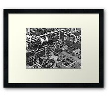 The cleaning robots and the futureistic Moxie horse mobile Framed Print